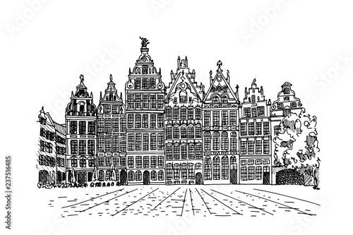 Poster Antwerp Grote Markt square in Antwerpen, Belgium.