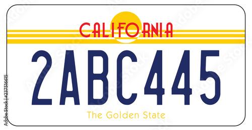 Plaque d'Immatriculation en Californie aux états Unis d'Amérique Canvas-taulu