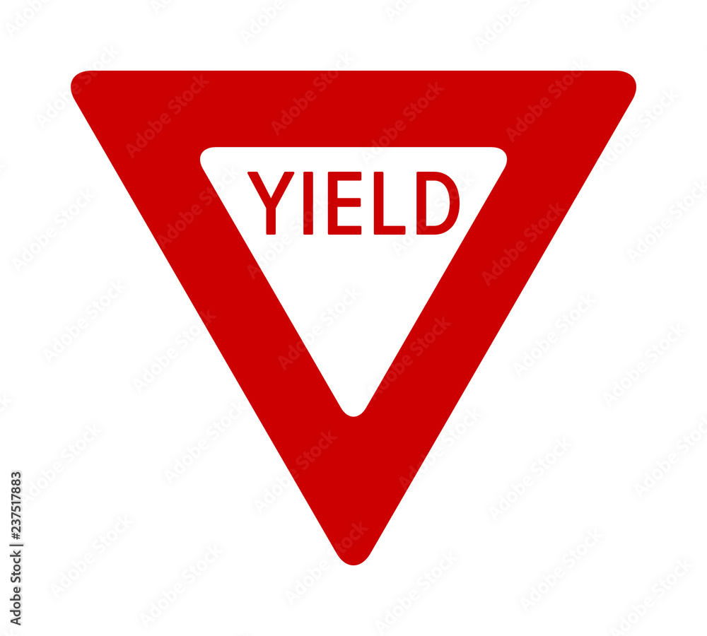 Fototapeta Red yield or give way sign with text flat vector icon for apps and print