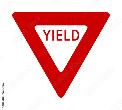 Obraz Red yield or give way sign with text flat vector icon for apps and print - fototapety do salonu
