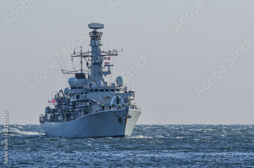 WARSHIP - Frigate on a patrol in the sea Canvas Print