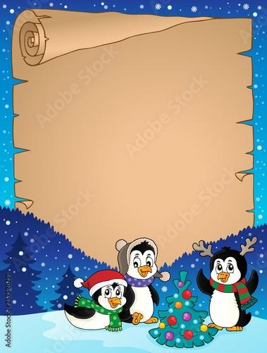 Poster Voor kinderen Christmas penguins thematic parchment 3