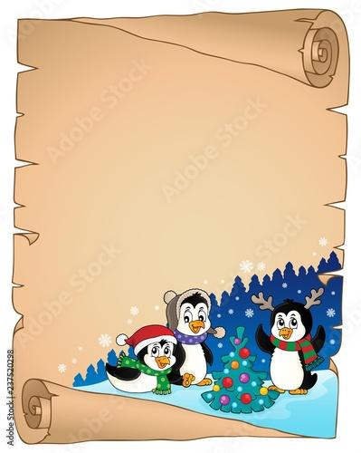 Poster Voor kinderen Christmas penguins thematic parchment 4