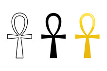 Set, Collection Of Ancient Egyptian Ankh Signs Isolated On White Background. Symbol Of Eternal Life, Egyptian Cross Sign.