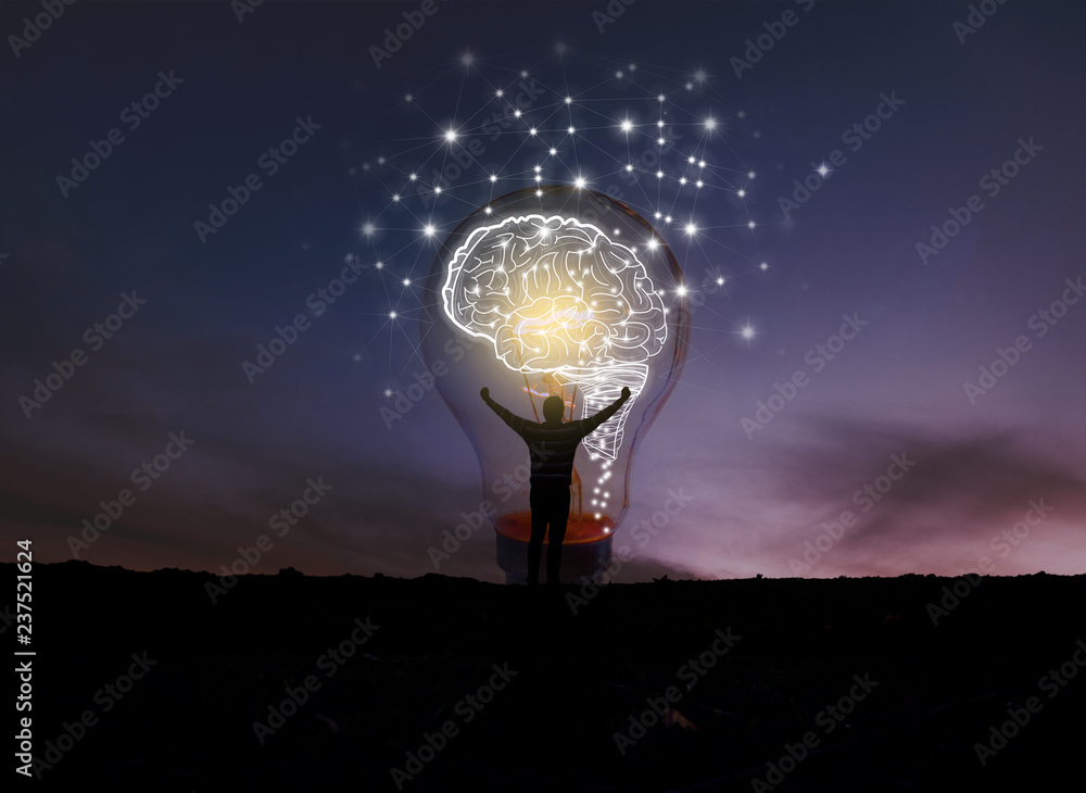 Fototapety, obrazy: creative idea.Concept of idea and innovation / night sky background / soft focus picture / Blue tone concept
