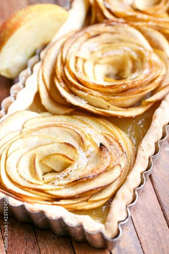 Tarte Aux Pommes Forme De Fleurs Acheter Cette Photo Libre De