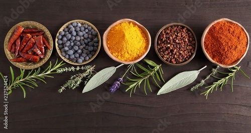 Fotobehang Aromatische Spices and herbs.