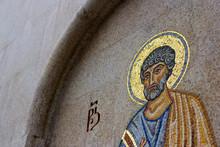 Mosaic Of A Saint On The Church Wall
