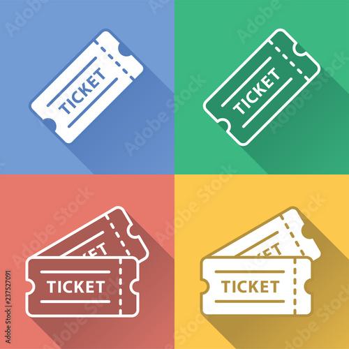 Foto  Vector Colorful Raffle Ticket Icon Set