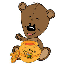 Teddy Bear With A Pot Of Honey Icon. Vector Illustration Of A Teddy Bear Holding A Pot Of Honey. Hand Drawn Teddy Bear Holding A Jar Of Honey.