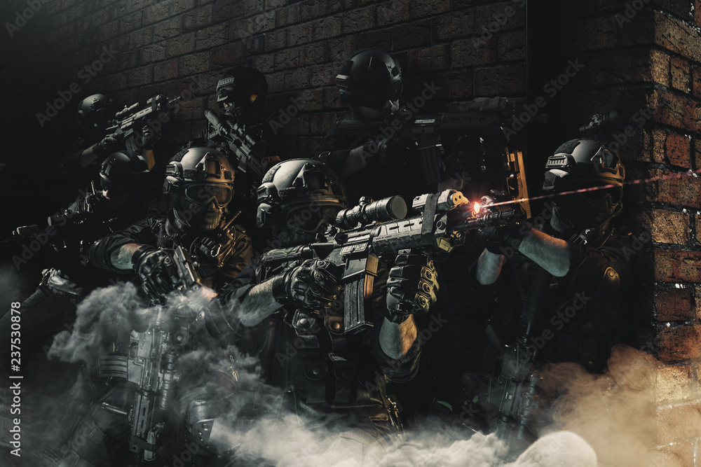 Fototapety, obrazy: special forces soldier police, swat team member