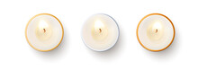 Set Of Top View Burning Candle...