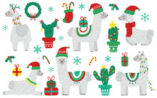 Cute Christmas Llama Alpaca With Santa Claus Hat And Holiday Decorations. Christmas Tree Cactus And Gifts. Design For Nursery. Flat Style Vector Illustration.