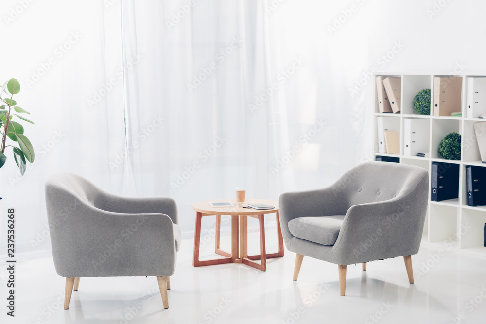 Fototapeta interior of light modern business office with two armchairs, shelves, plants and small wooden table on tulle background