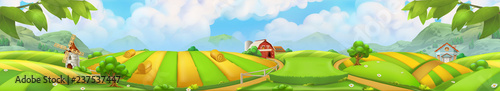 Keuken foto achterwand Lime groen Farm, panorama landscape vector background