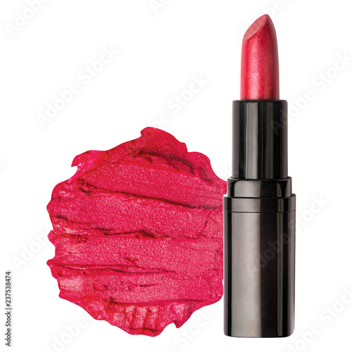 Fotografie, Obraz  Red lipstick with smudged lipstick swatch with text space isolated on a white ba