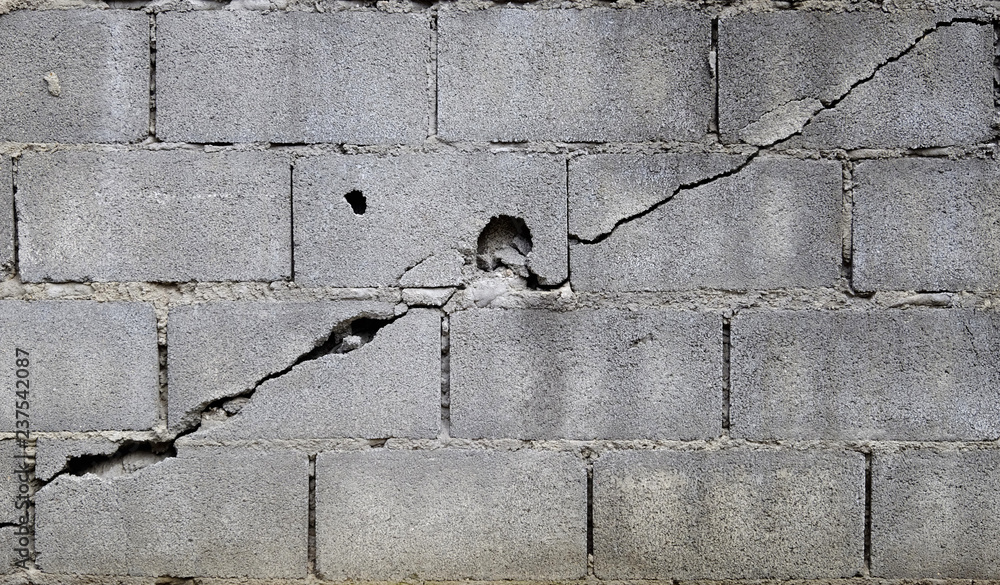 Fototapeta broken block cement wall