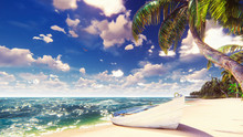 Palm Trees On A Tropical Island With Blue Ocean, Old Boat And White Beach On A Sunny Day. Beautiful Summer Scene. 3D Rendering.