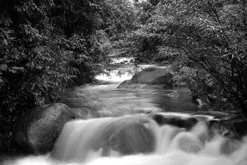 Fototapetawaterfall, black and white