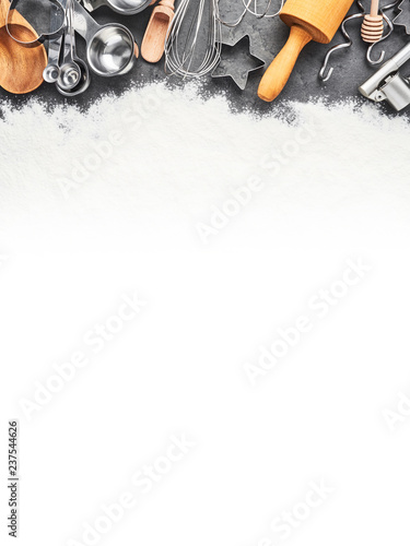 Kitchen Utensils And Flour For Baking Or Cooking Background Rolling Pin Whisk Wooden Spoon Cookie Cutters And Measuring Spoons On Dark Grey Concrete Background With Copy Space Top View Banner Buy