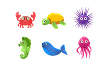 Set Of Cartoon Sea Creatures W...