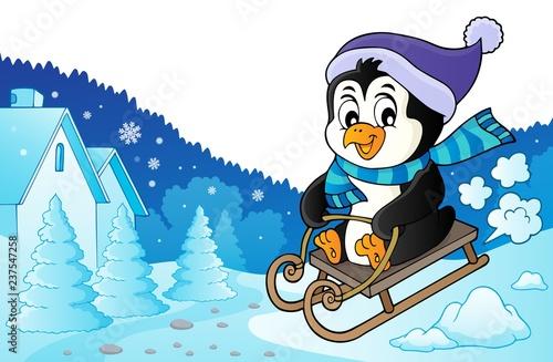 Poster Voor kinderen Sledging penguin theme image 3