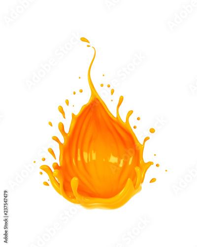 Liquid Yellow Orange Flavor Cream Or Juice Drop And Splash