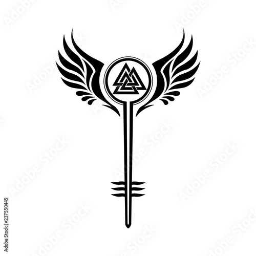 Photo  Valkyrie symbol with Odin's Valknut