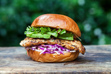 Chicken Burger With Red Cabbage Coleslaw And Avocado