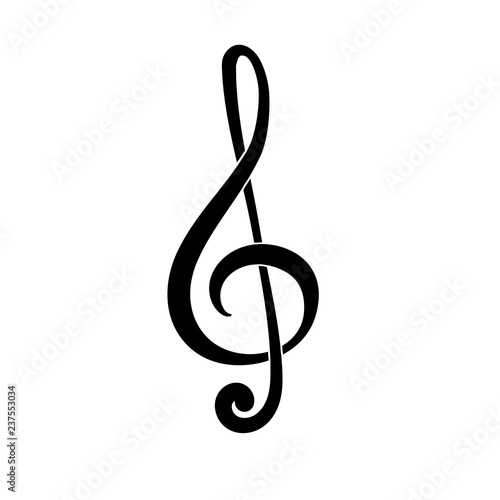 Fototapeta Treble clef. G Key. Symbol of music. Black icon obraz