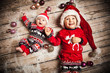 canvas print picture - Geschwister im Weihnachtsoutfit