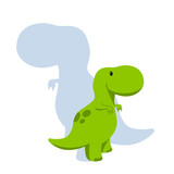 Fototapeta Dinusie - Vector baby dino flat style icon and its' silhouette - tyrannosaurus or t-rex - for logo, poster, banner. For historic event, dinosaur party invitation, fashion textile design. Isolated on white