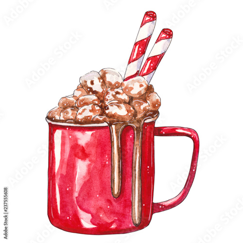 Foto auf Gartenposter Schokolade Red Cup of cocoa with marshmallows
