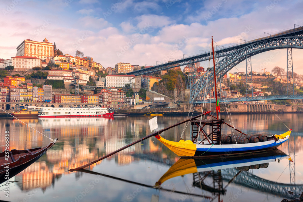 Fototapety, obrazy: Porto, Portugal. Cityscape image of Porto, Portugal with reflection of the city in the Douro River during sunrise.