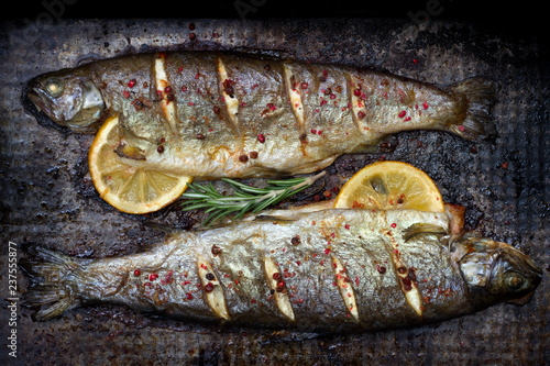 Baked trout fish with lemon and rosemary and spice on grunge metal plate still life