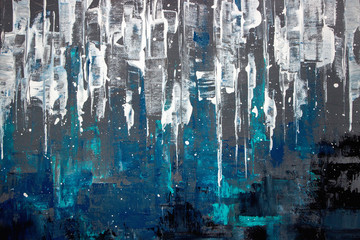 Fototapeta Grunge blue abstract acrylic painting on canvas