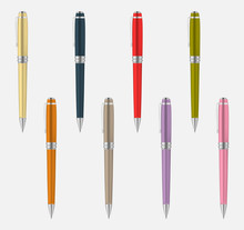 Colored Metal Pen Isolated On Gray Background, Vector Mockup Set