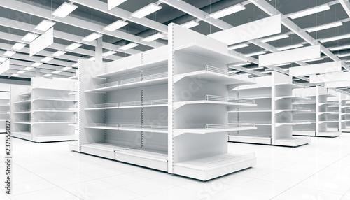 Interior of a supermarket with shelves for goods. 3d image. Fototapeta
