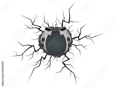 Fotomural Horseshoe inside cracked hole