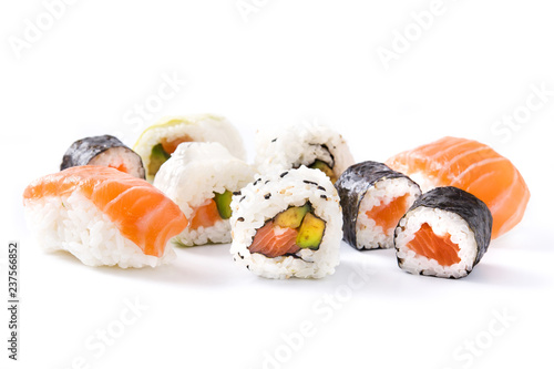 Photo Stands Sushi bar sushi assortment on black tray isolated on white background