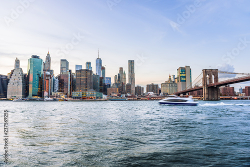 Photo Outdooors view on NYC New York City Brooklyn Bridge Park by east river, cityscap