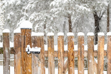 Closeup Of Wooden Fence Gate W...
