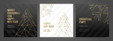 Luxury Christmas Party Invitation Template With Gold Frame And Black Background. Geometric Shape.
