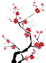 Fototapeta Orientalny A branch of a blossoming tree. Pink and red stylized flowers of plum mei, wild apricots and sakura . Watercolor and ink illustration in style sumi-e, u-sin. Oriental traditional painting.