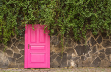 Vintage Wooden Pink Door With Metal Furniture