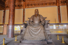 Beijing/China - 27 February 2017: Statue Of Yongle Emperor In Ling En Hall Of Changling Tomb In Ming Dynasty Tombs,Shishanling Beijing China