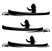 Indian Tribal Chief Rowing In Traditional Canoe - Native American, Boat And Wave  Black Vector Silhouette Set