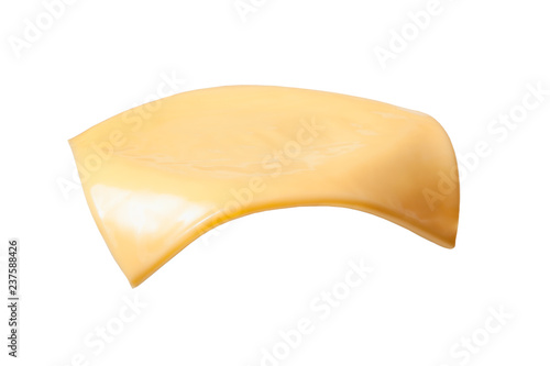 Tela Yellow cheese slices isolated on white background.