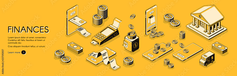 Fototapeta Financial analysis, investments and business consulting company, online banking and accounting service isometric vector horizontal web banner or poster with mobile digital payments line art concept