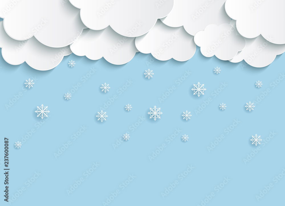 Fototapeta Abstract Paper Clouds with Snowflakes Vector Illustration